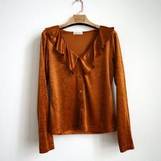Pumpkin Vintage. Ancient lotus leaf collar suede shirt