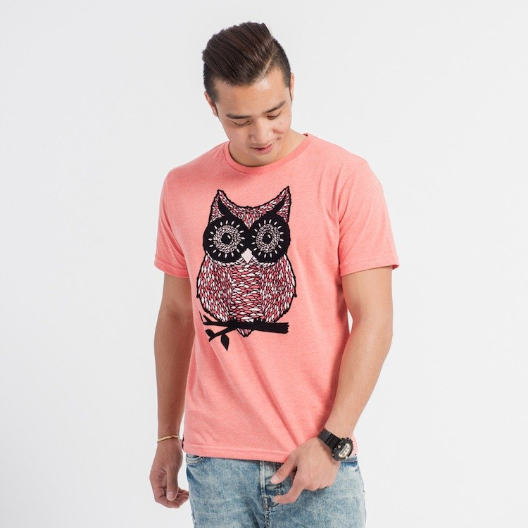 [Forest Animal Series] Owl Classic T Neutral - Coral Red