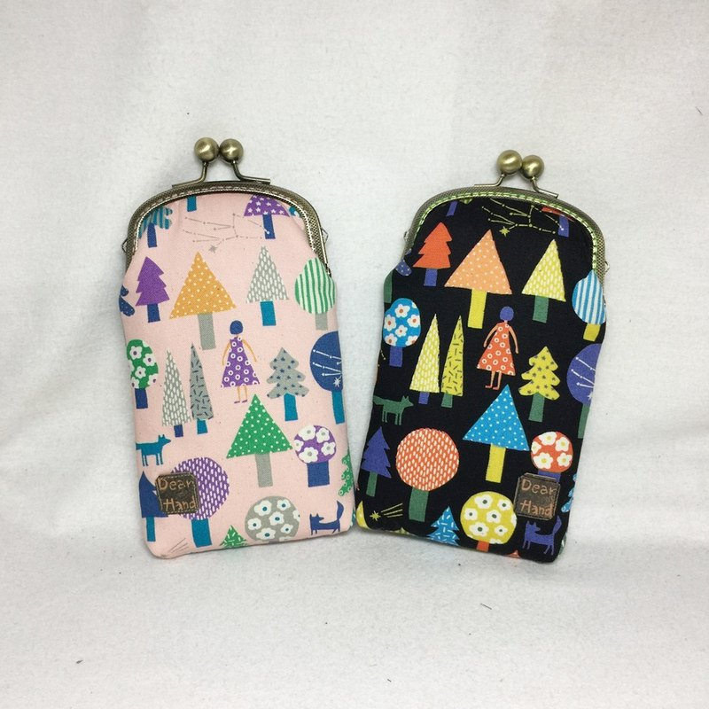 Mobile phone gold bag + girl and forest - two colors +