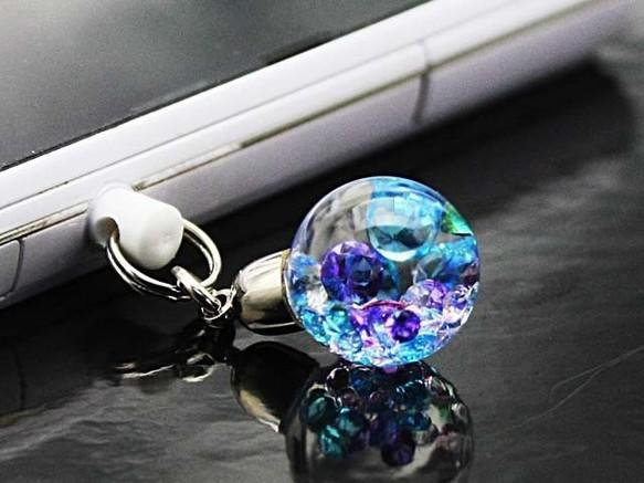 Bijou glass Ball strap or earphone jack - ice blue-based purple clear color ~