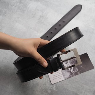 Refined hand-stitched belt black J&E horse leather high-end pure titanium buckle handmade leather design customized
