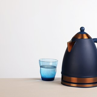 1.7L Cordless Electric Rapid Boil Water Kettle - Navy Blue and Copper