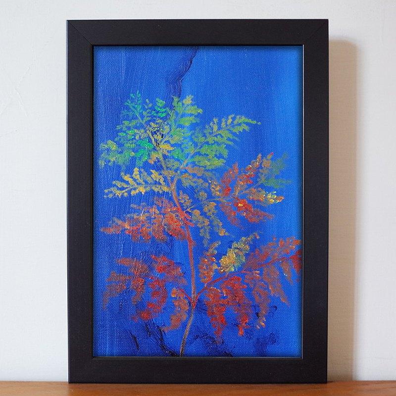 植物#129 蕨 油畫 F 1號 含框尺寸約26*19cm