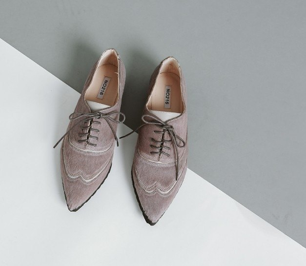 Horse hair layered strap oxford leather pointed leather shoes gray