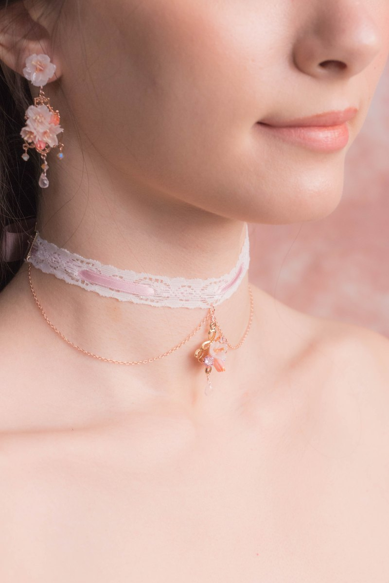 BLOSSOM Rose-gold Plated Lace Ribbon Choker