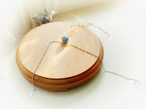 Wrap woven mini blue crystal ball clavicle necklace silver chain girlfriends gift free packaging