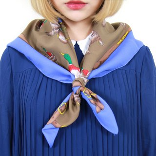 Back to Green :: Classic Scarves Royal Blue Ducks vintage scarf (SC-08)