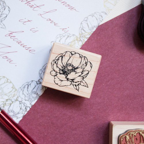 Maple Wood Stamp - Peony