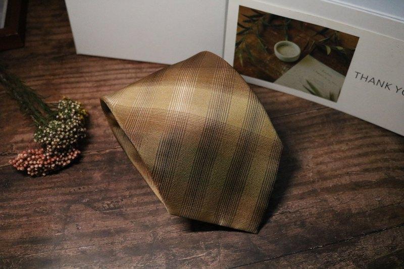 黃色大網格領帶真絲正裝紳士領帶禮盒裝