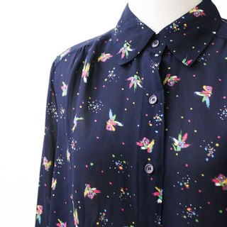 【RE0916T192】 early autumn Japanese retro color fire dark blue ancient shirt