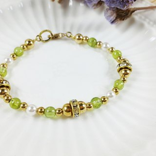 Beverly 's Expectation Collection - Bracelet Peridot Pearls Brass