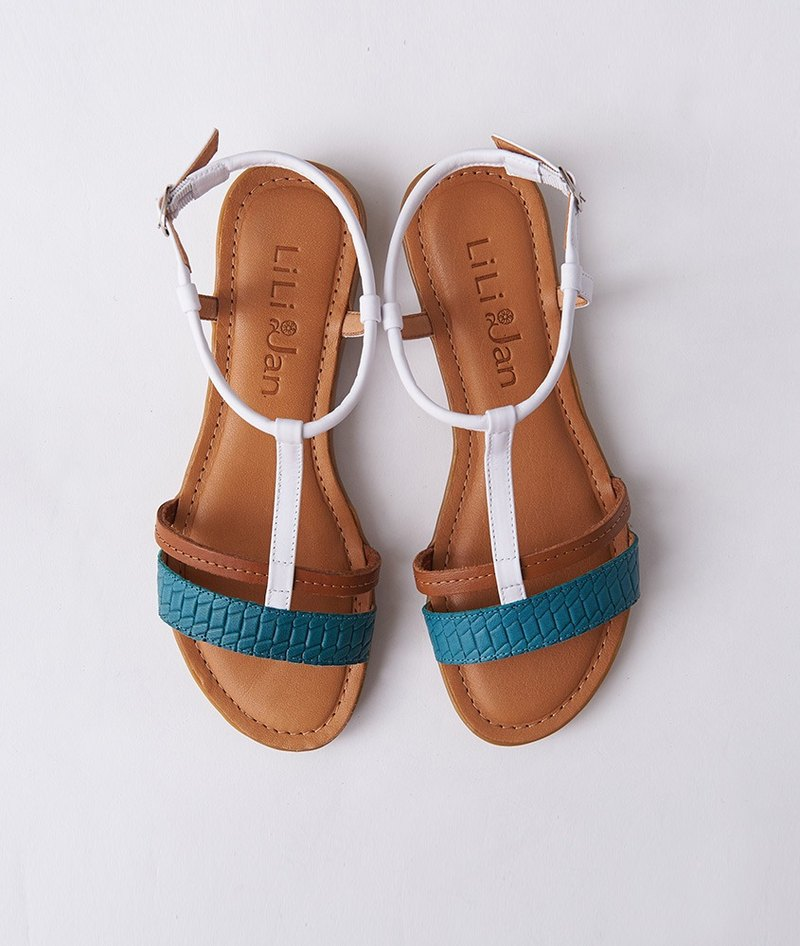 [Encounter Provence] double belt T-shaped leather flat sandals _ peacock blue / brown / white