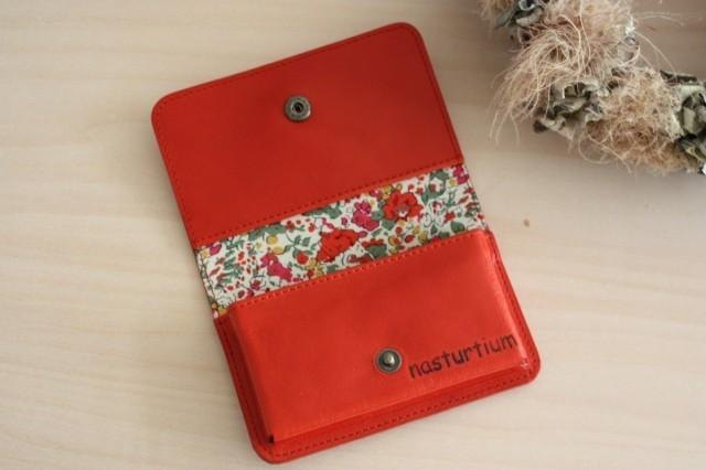 Card Case Red leather and Liberty print