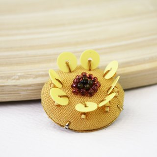 handmade yellow floral brooch,  round flower pin