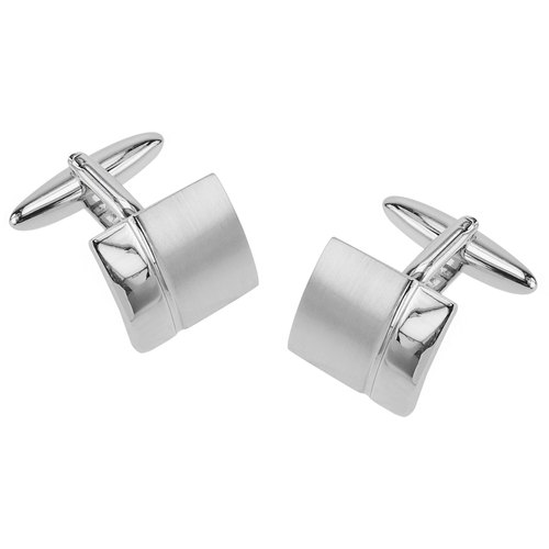 Classic Polished and Brushed Silver Cufflinks