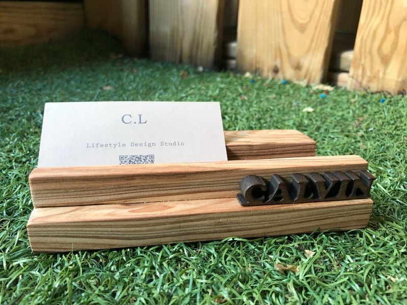 """CL Studio"" [modern simple - geometric style wooden mobile phone holder / business card holder] N47"