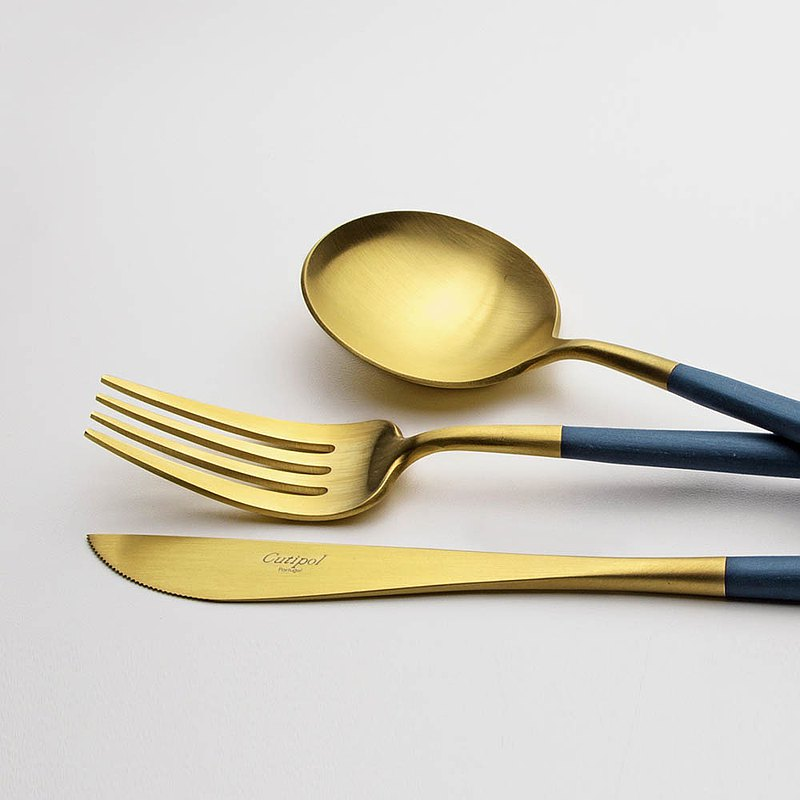 GOA BLUE MATTE GOLD 3 PIECES SET (TABLE KNIFE/FORK/SPOON)