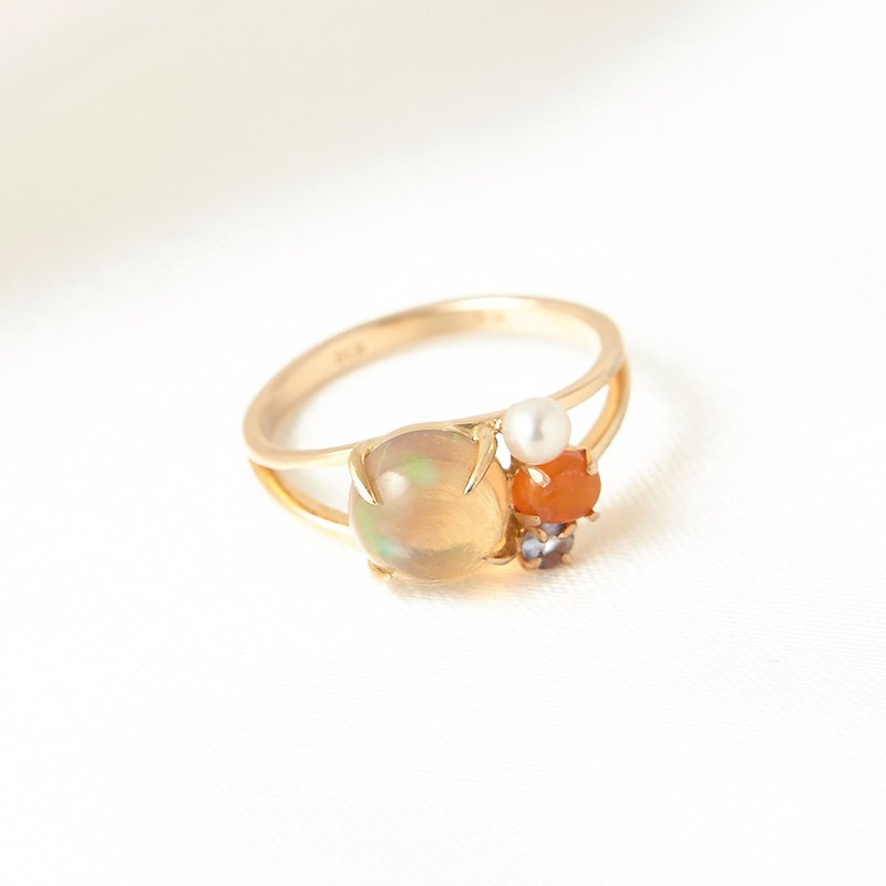 K10 Opal Pearl Fruit Cake Ring