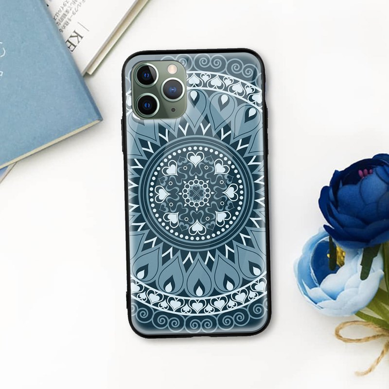 Mandala Art Blue Glossy mobile phone case iPhone 12 Pro XR Max Samsung Huawei