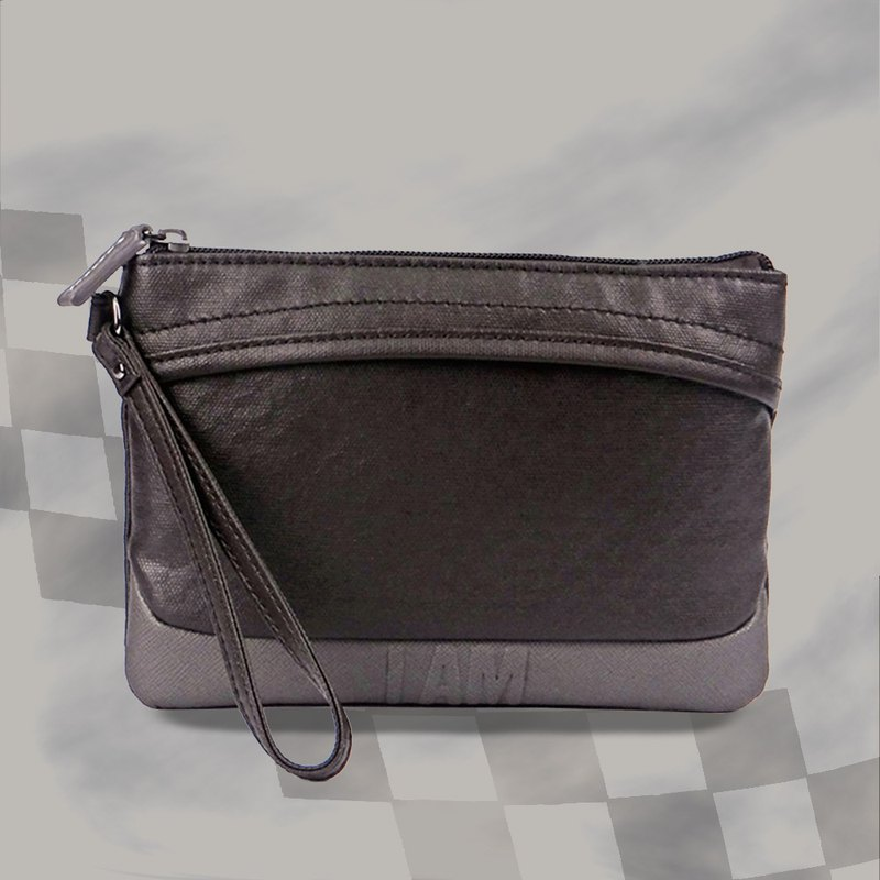 I AM- Clutch-Coffee / Grey with Leather