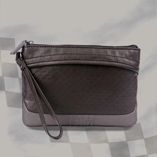 Free shipping I AM- Clutch - Coffee/Grey with leather