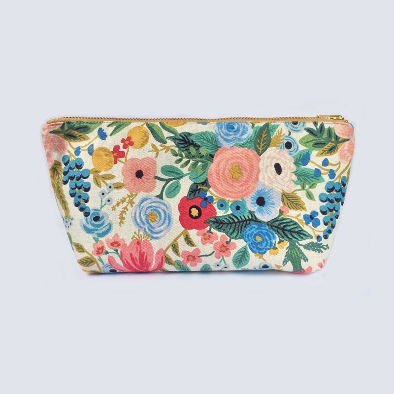 纯棉化妆包/杂物包 Canvas Large Zipper Pouch, Floral Garden Party