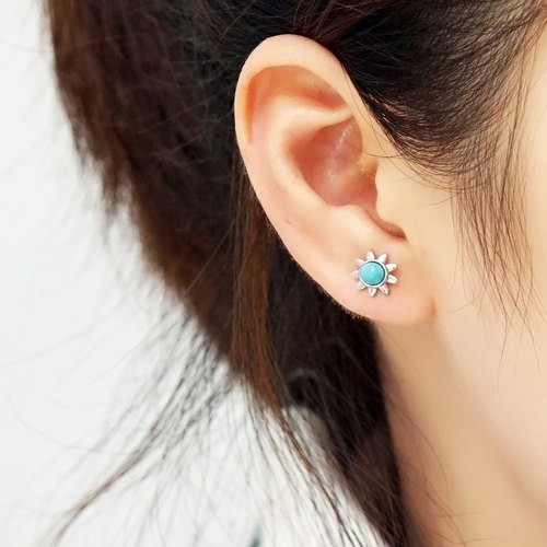 Baby blue ear nails VISHI original design s925 silver ore Hubei turquoise sun clean simple temperament men and women couples