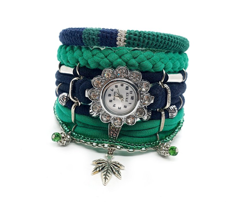 Unique Womens Rhinestone Watch Bracelet Set Green Blue Wristwatch Leaf Charm