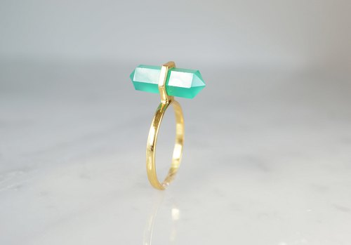 【Gold Vermeil/Gemstone】Green Onyx Gold Ring