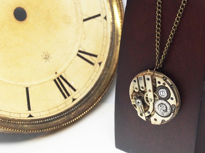 1950 Vintage Swiss frozen time pocket watch movement necklace