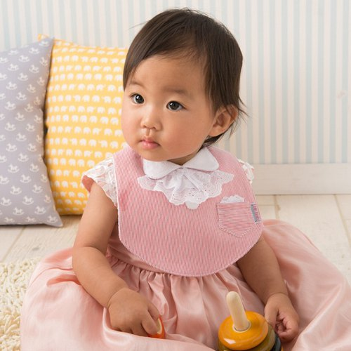 bib-bab Baby Bib Formal Type Red (White Lace Ribbon)