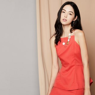 Peplum Cami Pencil Dress (Coral)