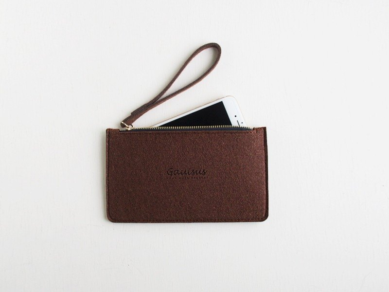 Leyang・Gauisus-Wool felt storage bag / Mobile phone bag - Dark chocolate color (big money)