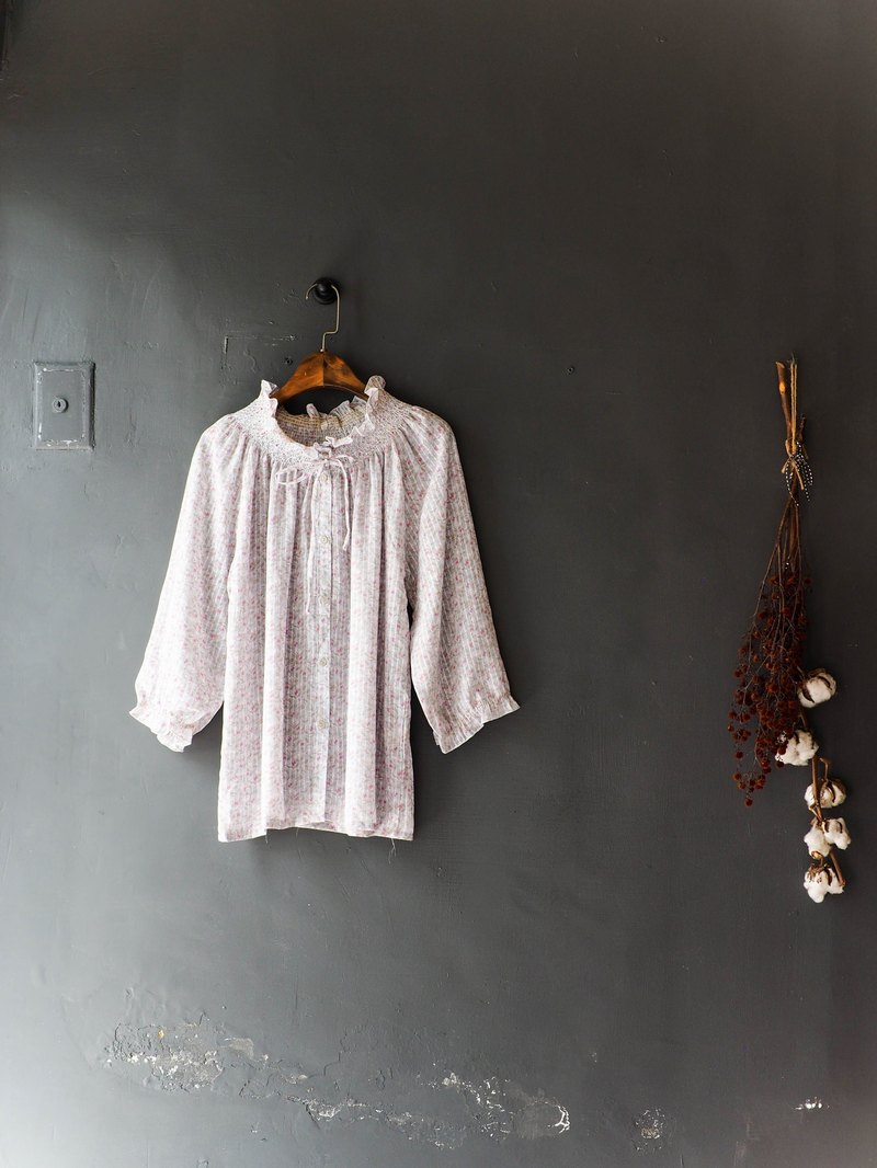 River water mountain - Oita light gray gray floral flower collar love log antique silk shirt shirt shirt oversize vintage