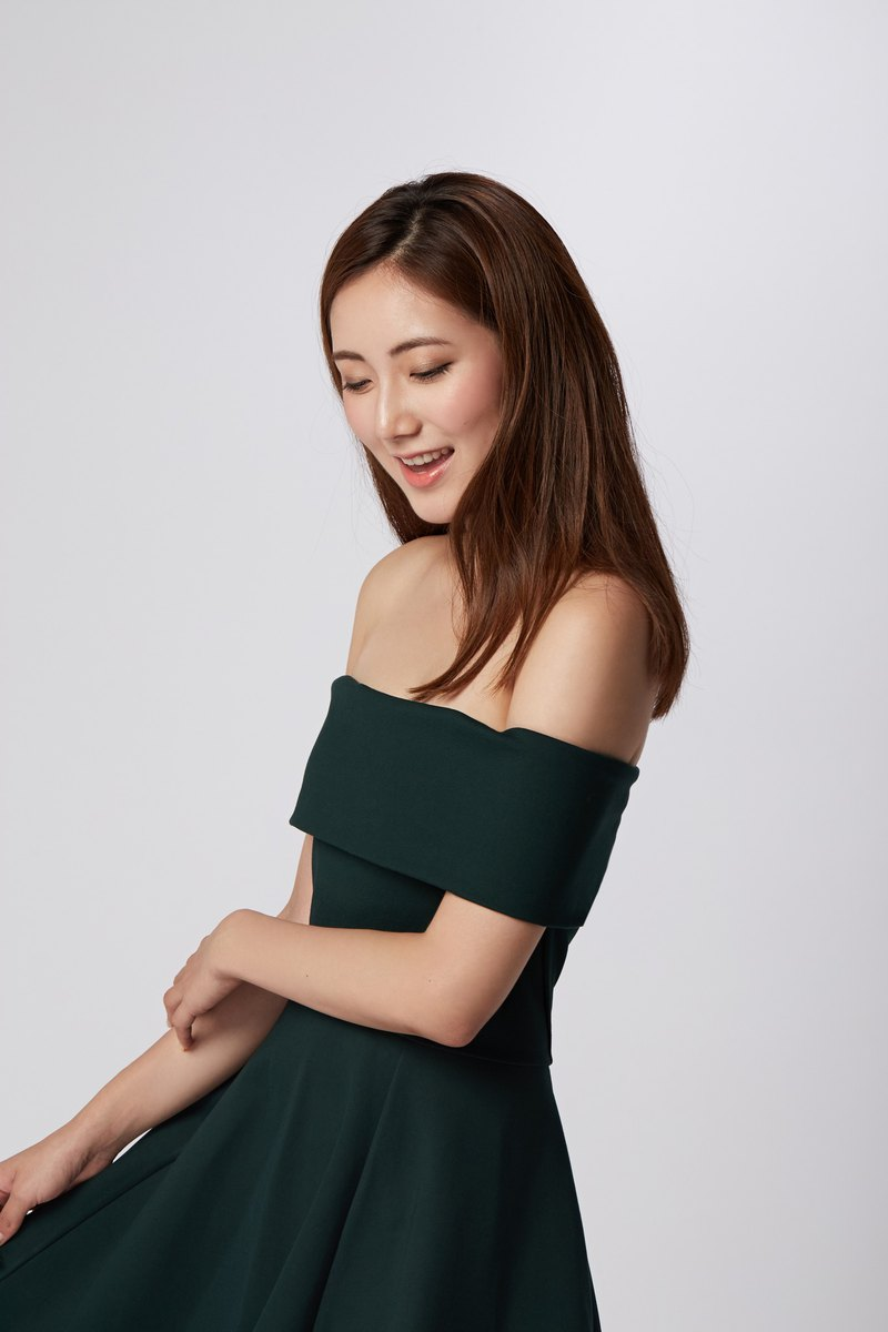 New York Green Off Shoulder Dress
