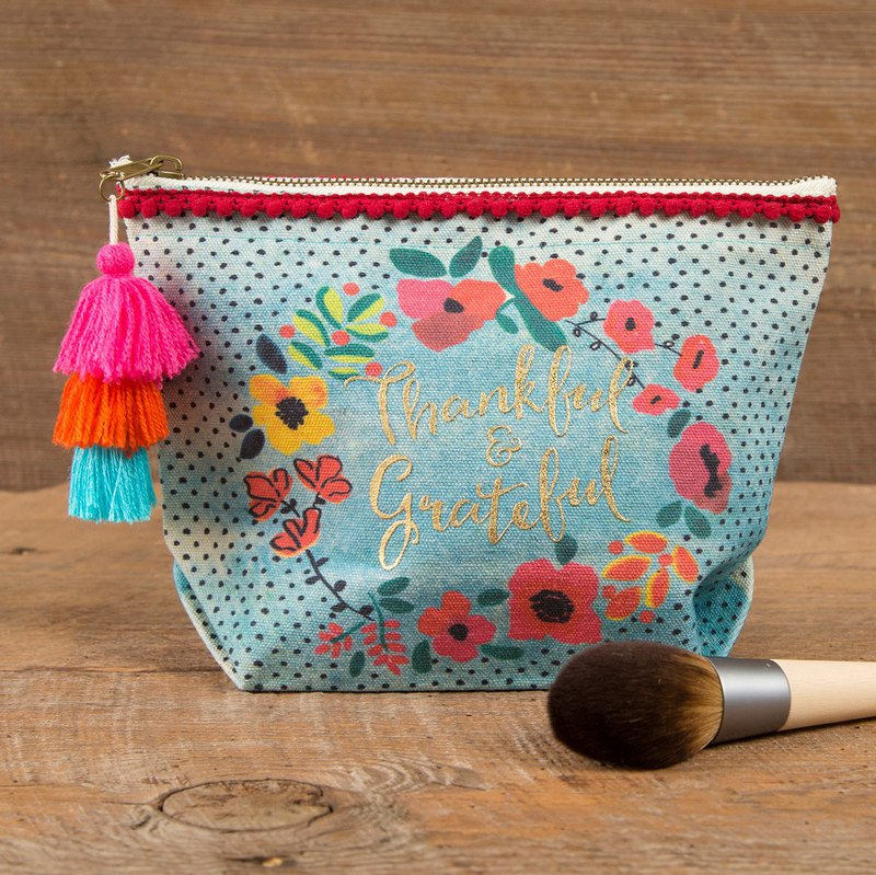 Wool Fringe Canvas Cosmetic Bag -Thankful & Grateful