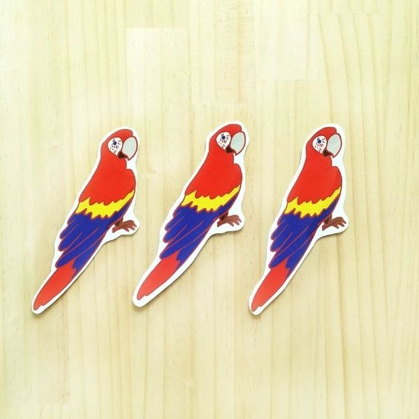 1212 design fun funny stickers waterproof stickers everywhere - red macaw