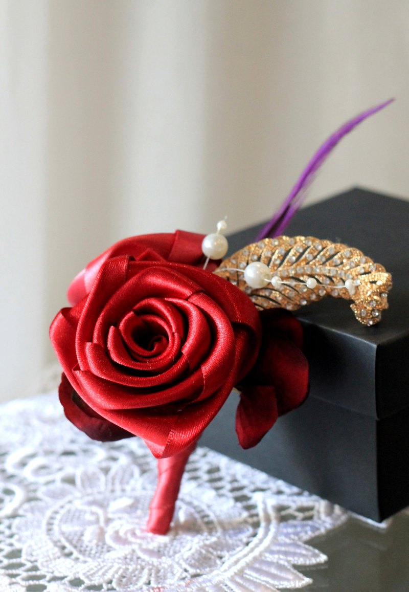 Handmade ribbon brooch [series] classic red roses