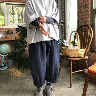 Three-dimensional washed thick double-ply cotton folding Peng Peng wide leg pants
