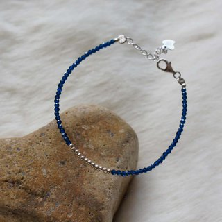Blue Corundum Silver 925 Bracelet with Linear Memory Alloy