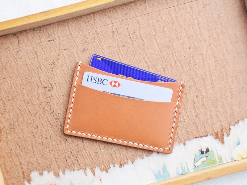 Classic double-decker card case Good seam leather bag free lettering handmade package couple gift card holder card holder business card holder simple and practical Italian leather vegetable tanned leather DIY companion leather cowhide customized Valentine&