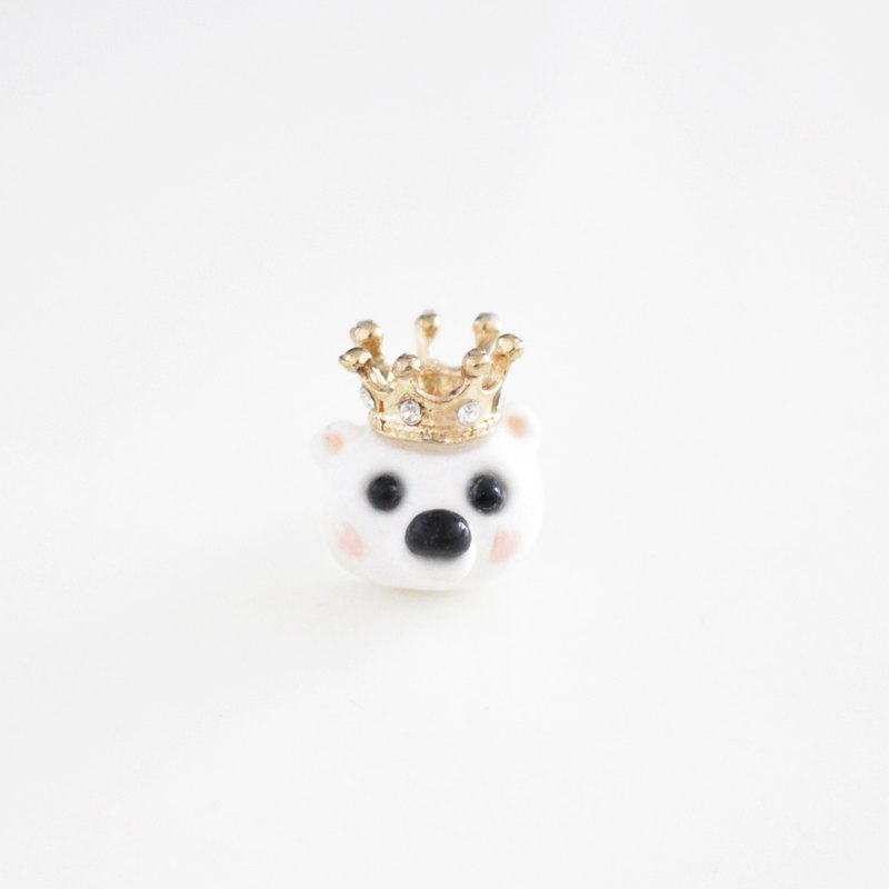 Bear King stud earrings / clip on earrings
