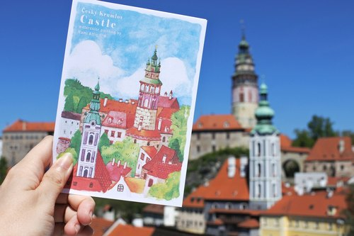 Rami European travel watercolor hand painted wind postcard - Czech Coulon Loft painted tower