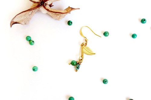 [UNA- excellent Na] handmade classical chlorophyll - Copper earhook brass customization natural stones