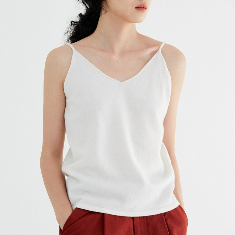 White six-color pure wool V-neck sling base vest in the body with a soft skin care winter artifact