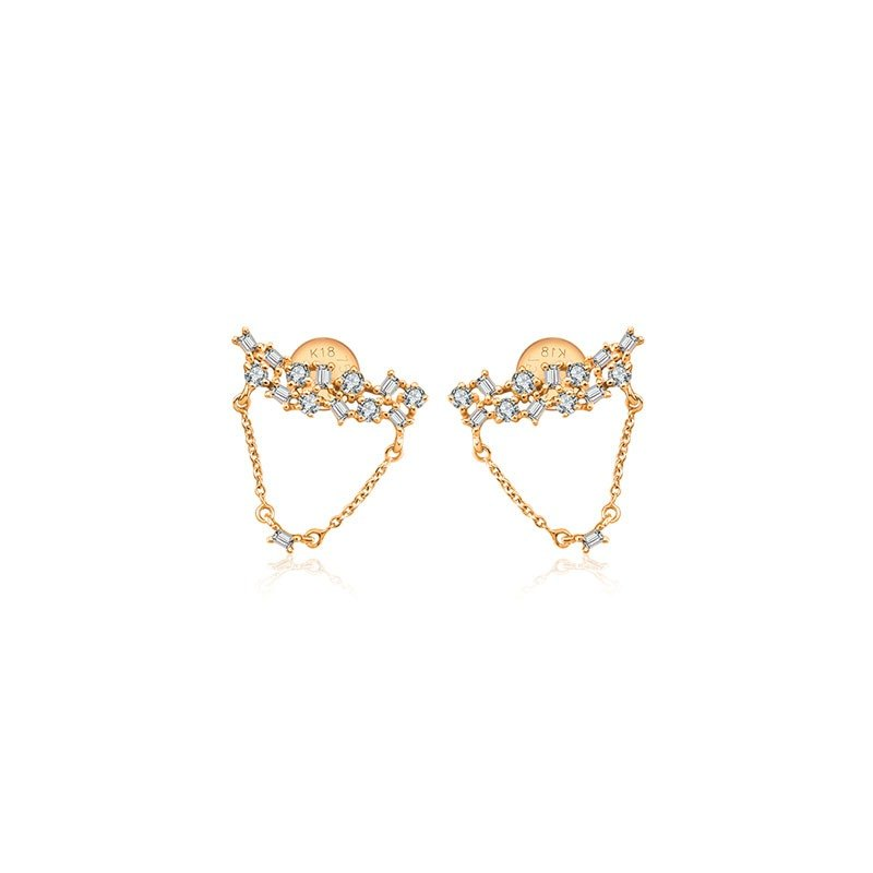 Irregular Shape Chain Diamond Earring
