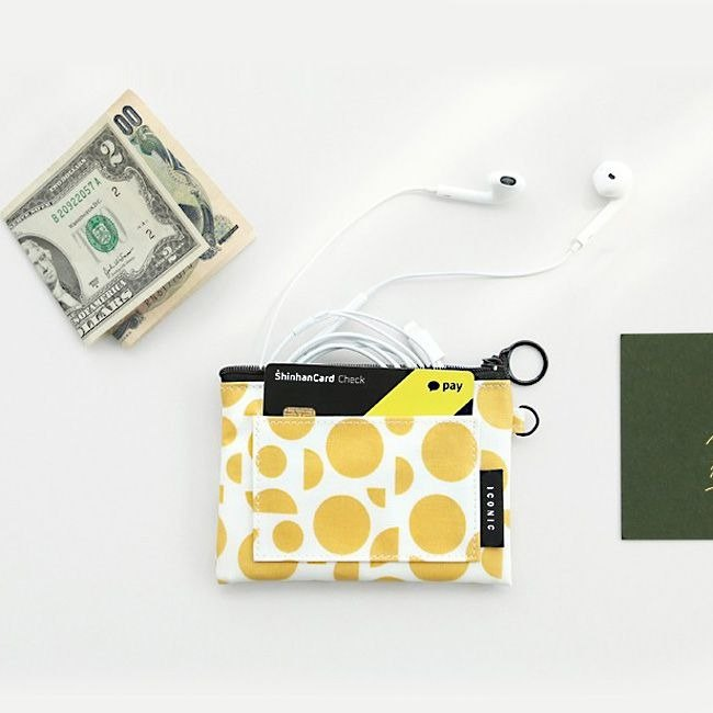 iconic portable ticket card documents wallet - geometry yellow, ICO89124