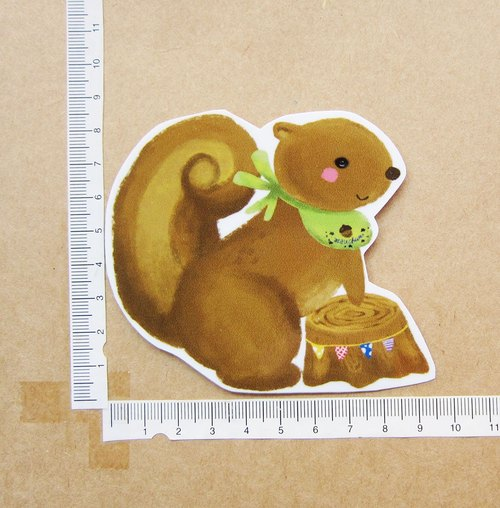 Hand-drawn illustration style completely waterproof sticker forest animals series squirrels