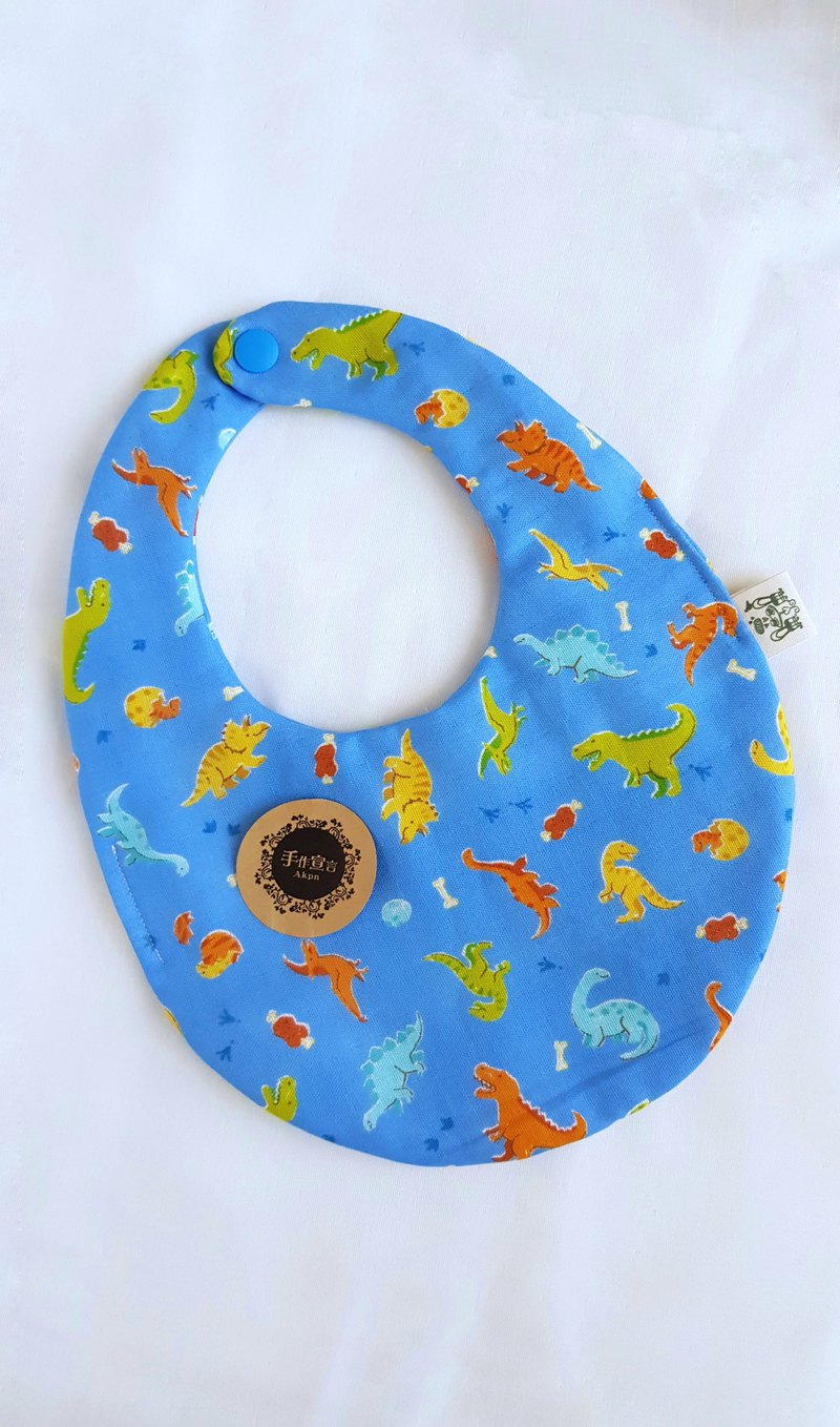 Dinosaur World - Blue - Eight Layers 100% Cotton Double Sided Egg Bib. Saliva Towel