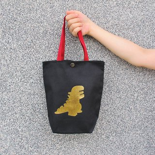 Bronzing Dinosaur Canvas Eco-Friendly Bag - Double Cup